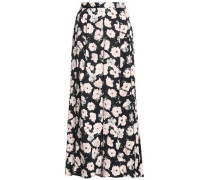 Floral-print satin-crepe wide-leg pants