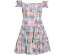 Maria Off-the-shoulder Gingham Cotton-poplin Mini Dress Multicolor
