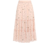 Woman Metallic-trimmed Embroidered Embellished Crepon Midi Skirt Blush