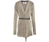 Woman Belted Jacquard-knit Cotton-blend Cardigan Neutral