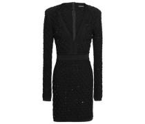 Bead-embellished Smocked Stretch-knit Mini Dress Black