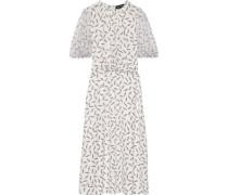 Carlie Printed Georgette-paneled Silk Crepe De Chine Midi Dress White