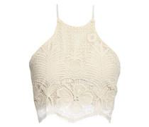 Noel Cropped Cotton Lace Halterneck Top Ecru