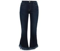 Fringed High-rise Kick-flare Jeans Dark Denim  4
