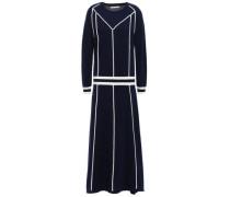 Striped Wool And Cashmere-blend Midi Dress Midnight Blue