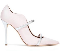 Maureen Metallic Leather-trimmed Moire Pumps Pastel Pink