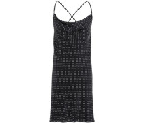 Open-back Polka-dot Silk Crepe De Chine Mini Dress Black
