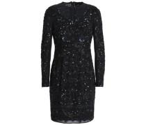 Bead and sequin-embellished chiffon mini dress