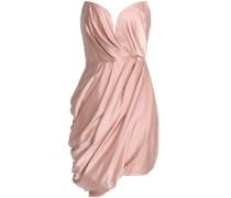 Strapless draped washed-silk mini dress
