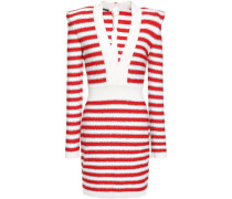Woman Sequin-embellished Striped Knitted Mini Dress Red