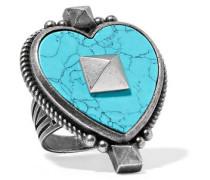 Gunmetal-tone stone ring