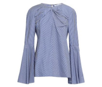 Knotted Striped Cotton Top Light Blue