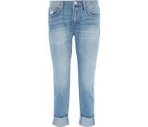 The Fling Cropped Distressed Mid-rise Slim-leg Jeans Light Denim  3