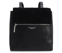 Suede-trimmed Leather Backpack Black Size --