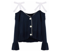 Colby Cold-shoulder Silk And Cashmere-blend Cardigan Navy
