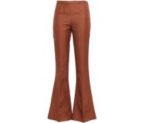 Shantung Flared Pants Brown