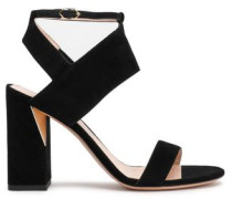 Cutout Suede Sandals Black