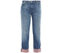 Glitter-embellished Faded Boyfriend Jeans Mid Denim  4
