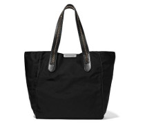 Faux leather and chain-trimmed twill tote