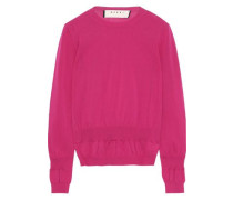 Woman Gathered Cotton-blend Sweater Fuchsia