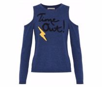 Wade Cold-shoulder Embroidered Stretch-knit Sweater Navy