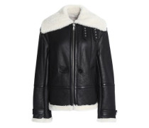 Aviator shearling-trimmed leather jacket