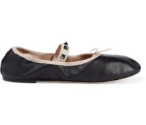 Woman Studded Leather Ballet Flats Black
