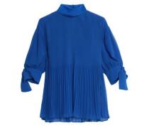 Knotted plissé-georgette blouse