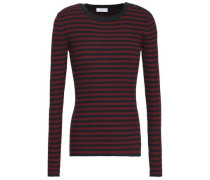 Striped Ribbed Silk-blend Top Merlot