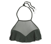 Ruffle-trimmed mesh-paneled bikini top
