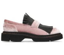 Bead-embellished velvet loafers