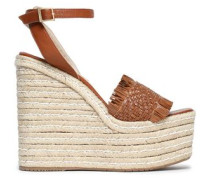 Woven leather platform wedge sandals