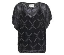 Bead-embellished Embroidered Crepe Blouse Black
