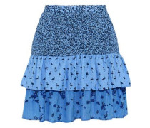 Salwa Tiered Printed Seersucker Mini Skirt Azure