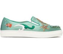 Embellished Satin Slip-on Sneakers Mint