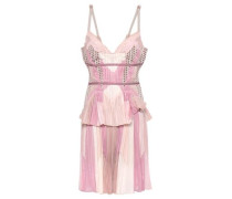 Jacquard-trimmed Pleated Color-block Voile Mini Dress Beige