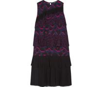 Tiered ruffled leopard-print silk-georgette dress