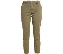 Cotton-blend twill slim-leg pants