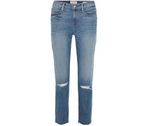 Le Noveau Cropped Distressed Mid-rise Straight-leg Jeans Mid Denim