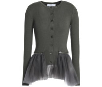 Tulle-paneled Ribbed Wool Peplum Cardigan Army Green