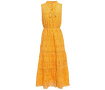 Tassel-trimmed Broderie Anglaise Cotton Midi Dress Marigold