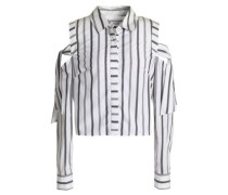 Riley cold-shoulder striped cotton-poplin shirt