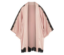Chantilly lace-trimmed silk-blend charmeuse robe