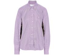 Oversized Floral-print Velvet-paneled Gingham Cotton-blend Shirt Lavender