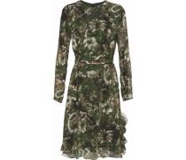Ruffle-trimmed printed chiffon dress
