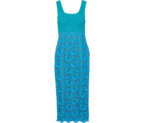Two-tone crochet-knit and corded lace midi dress