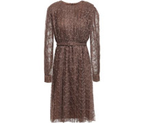 Belted Pleated Lace Dress Brown