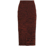 Ribbed Mélange Wool And Cotton-blend Midi Skirt Brick