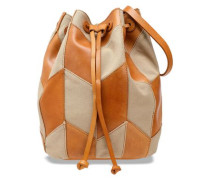 Pietro two-tone leather and canvas bucket bag
