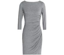 Twist-back ruched stretch-jersey mini dress